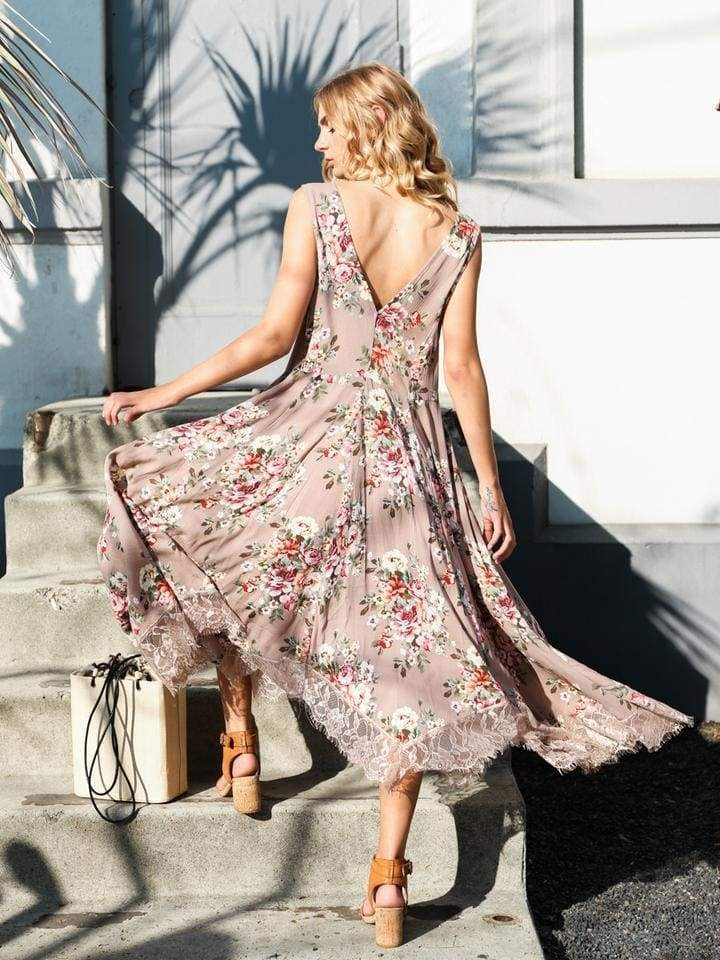 Camille Floral & Lace Midi Dress - DRESSES - Affordable Boutique Fashion