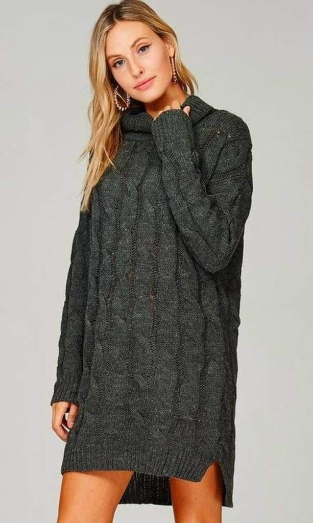 Cedar Rapids Charcoal Sweater Dress - SWEATER - Affordable Boutique Fashion