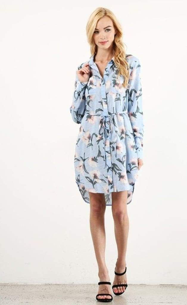 Charleston Linen Floral Shirt Dress . - DRESSES - Affordable Boutique Fashion