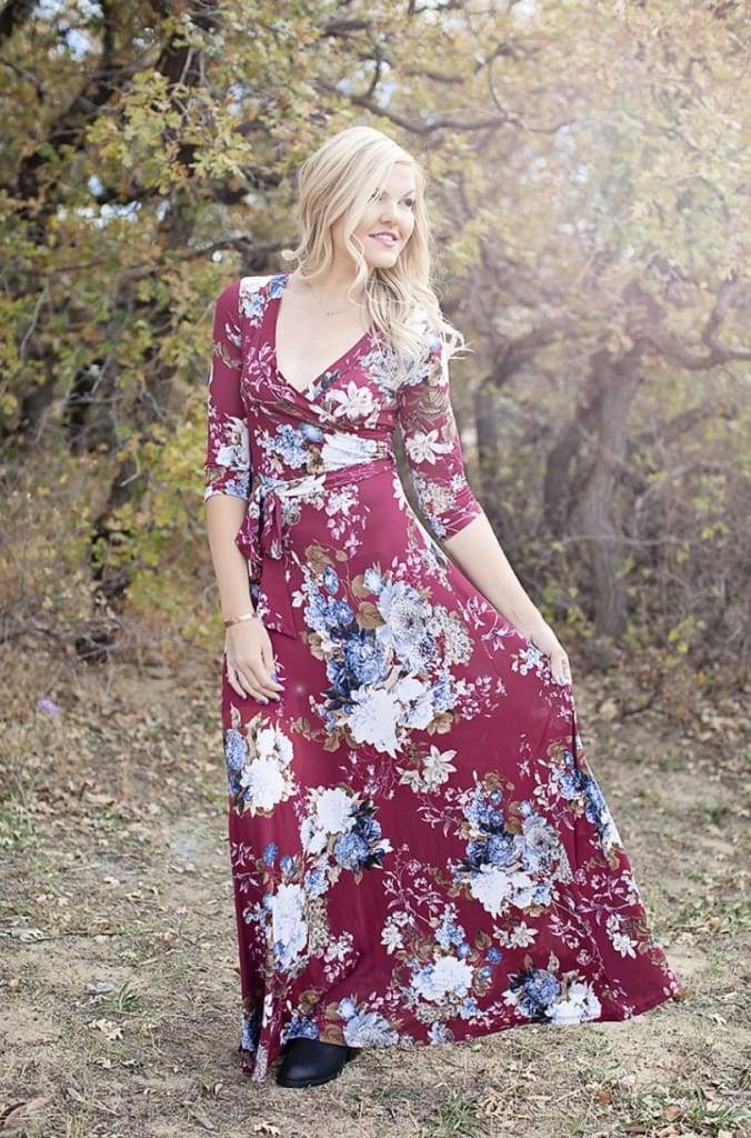 Charlie Faux-Wrap Floral Dress | Autumn Burgundy - DRESSES - Affordable Boutique Fashion