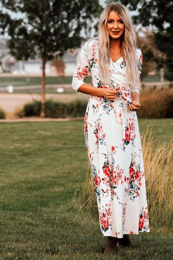 """Charlie"" Floral Wrap Maxi Dress 