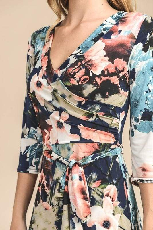 Charlie Printed Wrap Dress | New Wave - DRESSES - Affordable Boutique Fashion