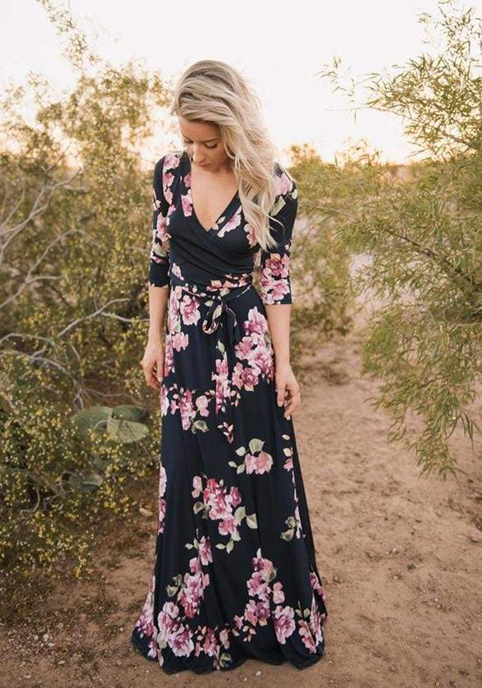 Charlie Printed Wrap Dress | Plum Sugar Floral - DRESSES - Affordable Boutique Fashion