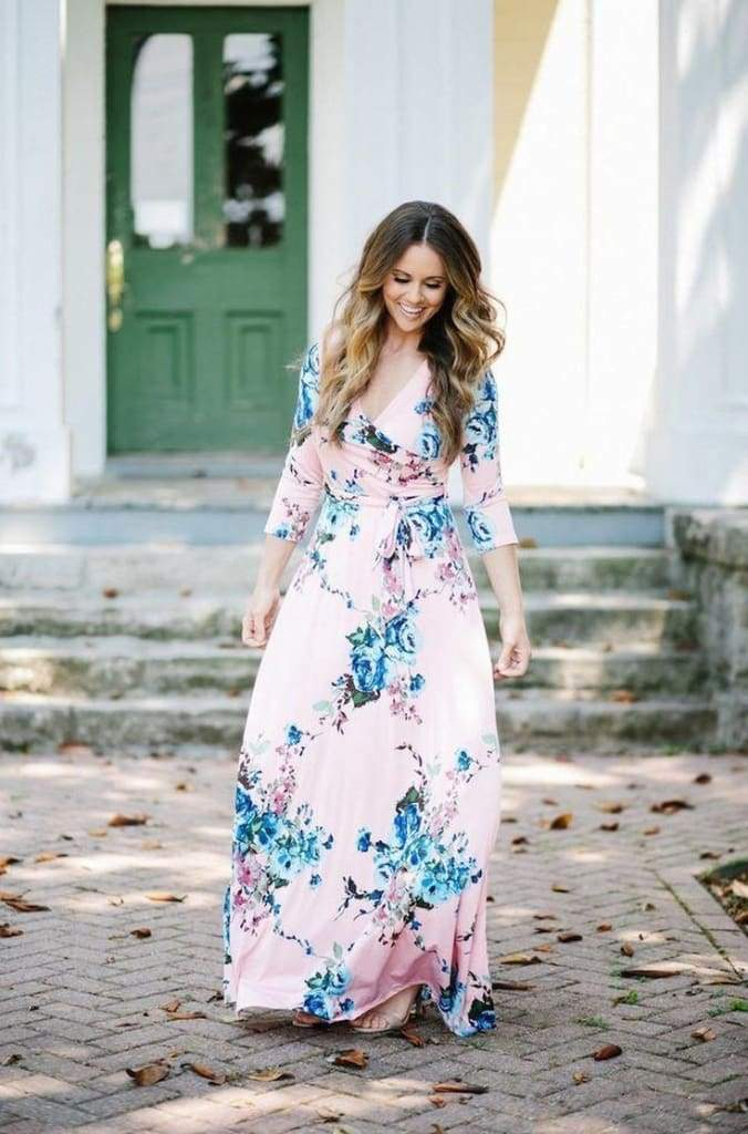 Charlie Printed Wrap Dress | Queensland Blush - DRESSES - Affordable Boutique Fashion