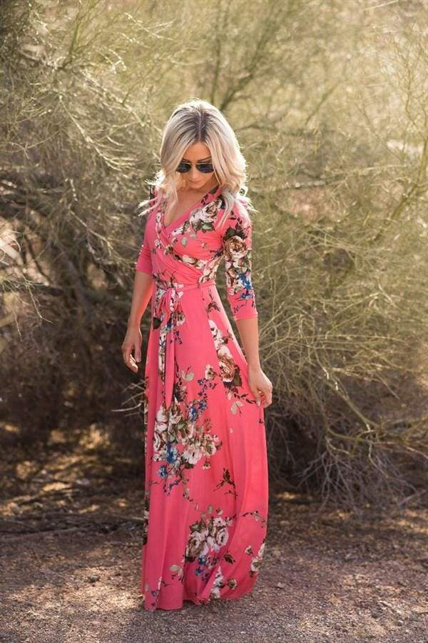 Charlie Printed Wrap Dress | Queensland Coral - DRESSES - Affordable Boutique Fashion