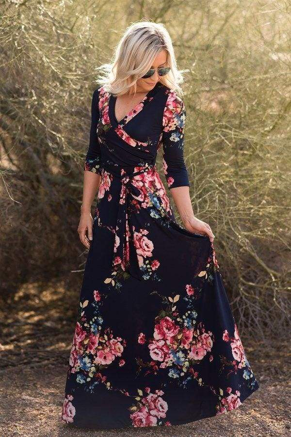 Charlie Printed Wrap Dress | Queensland Navy - DRESSES - Affordable Boutique Fashion