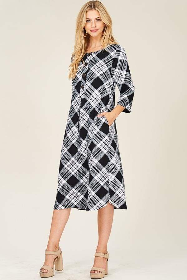 Checks and Balances Plaid Midi Dress | Nursing Friendly - Tops - Affordable Boutique Fashion