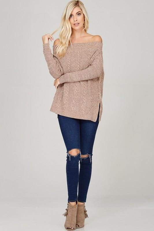 Cocoa Oversized Off-Shouldver Sweater - TOPS - Affordable Boutique Fashion