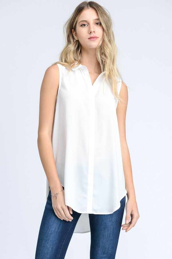 The Classics Sleeveless White Blouse