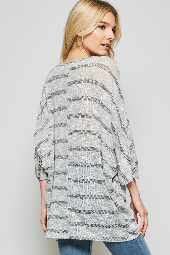 the Grey Striped Drape Top