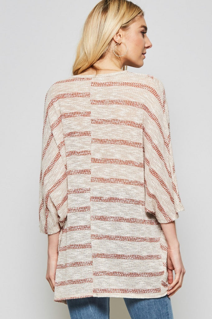the Tan Striped Drape Top