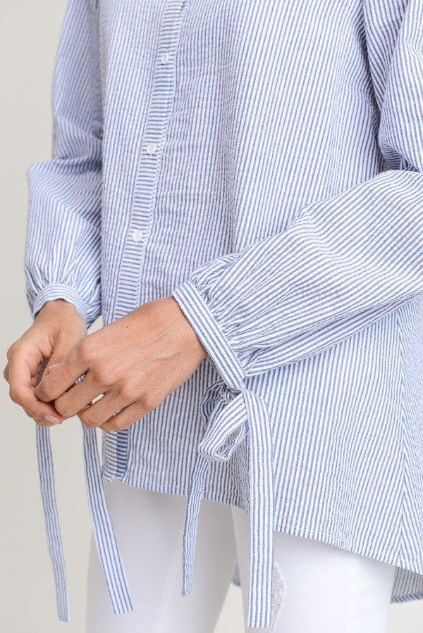 Chambray Striped Button Down Blouse