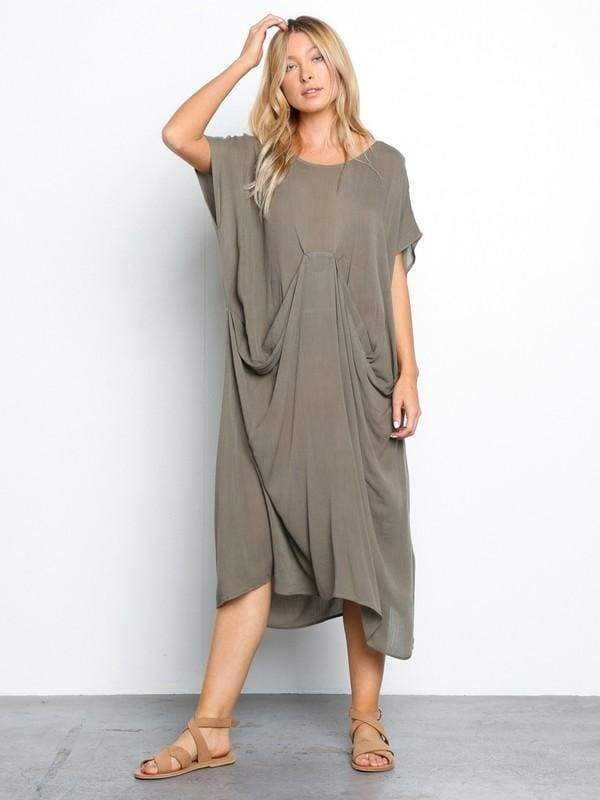 Draped Esssentials Midi Dress - Tops - Affordable Boutique Fashion