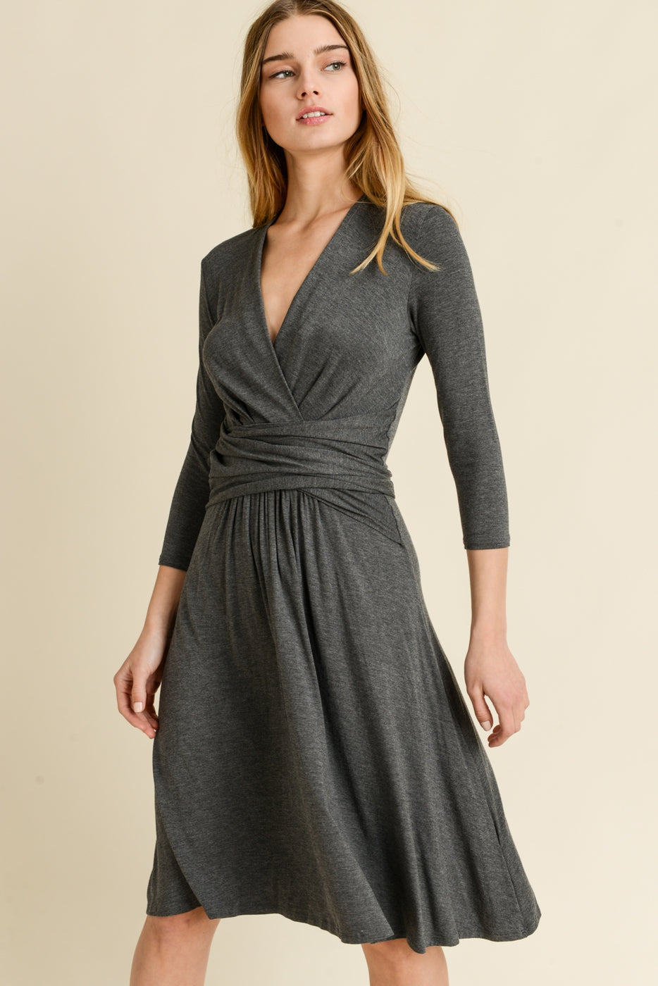 """Two-Way"" Wrap Dress in Charcoal"