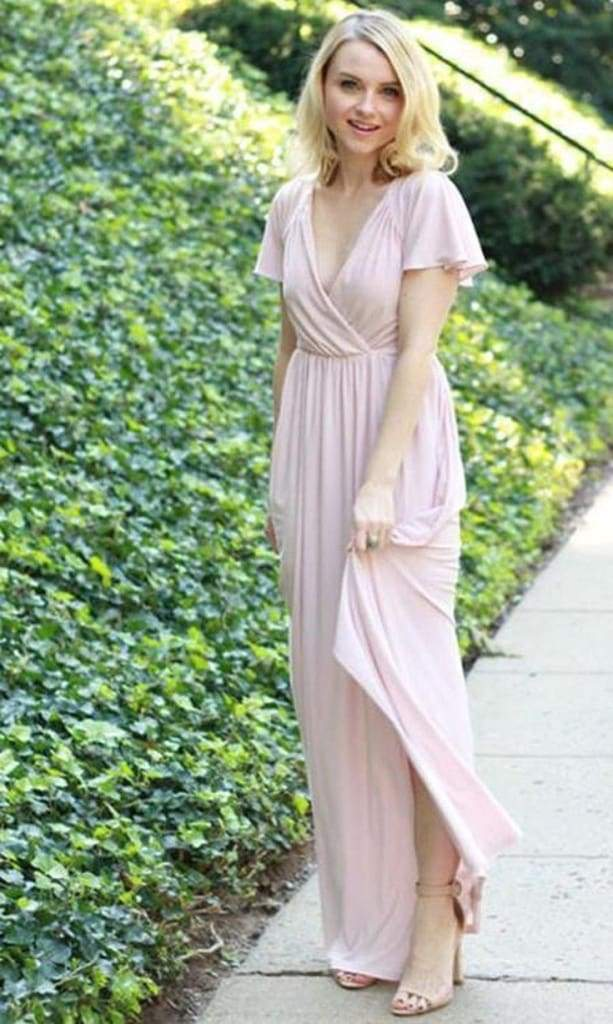Ella Flutter Sleeve Faux Wrap Maxi Dress - Mauve - DRESSES - Affordable Boutique Fashion