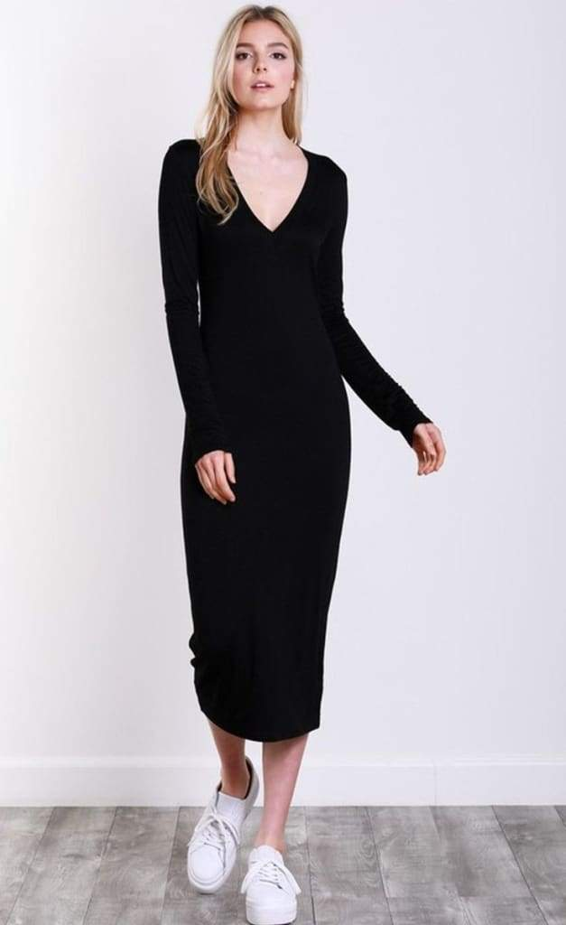 Emmy Mama Favorite BlackMidi Dress - DRESSES - Affordable Boutique Fashion