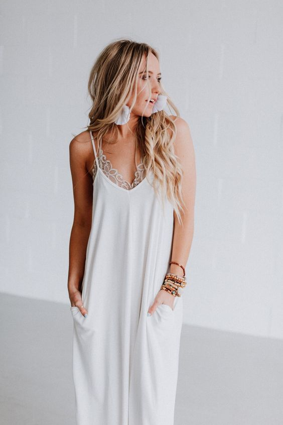 Mila White Harem Maxi Dress