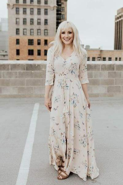 Bohemian Mama Dress - Dusty Cream Floral