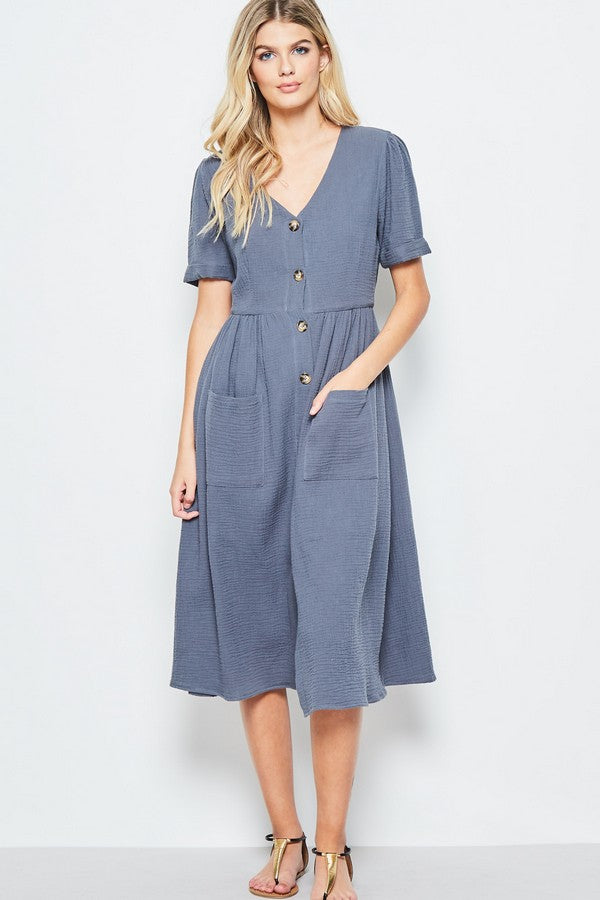Collette Button Front Shirt Dress
