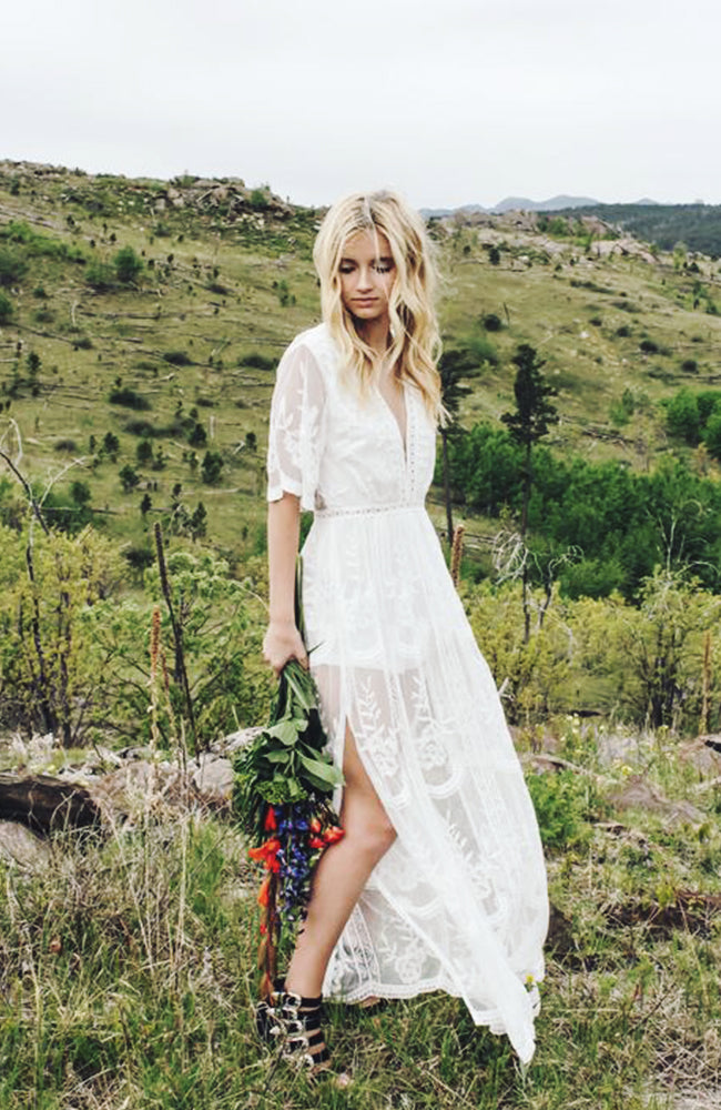 Genna White Lace Maxi Dress