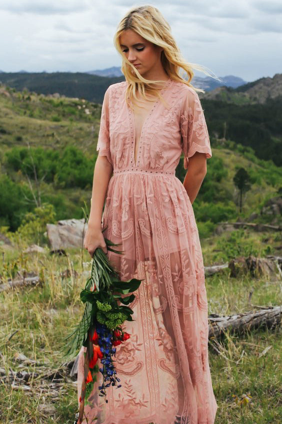Genna Blush Lace Maxi Dress