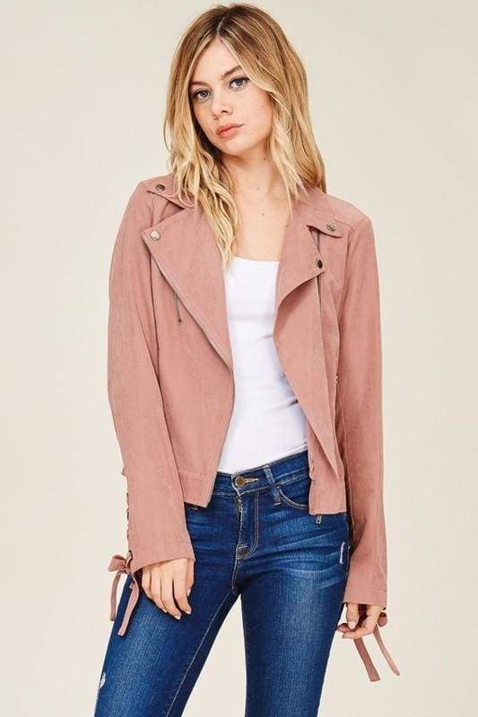 Here and Now Dusty Rose Suede Moto Jacket - JACKET - Affordable Boutique Fashion