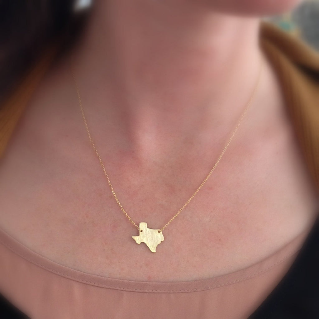 Texas Dainty State Necklace