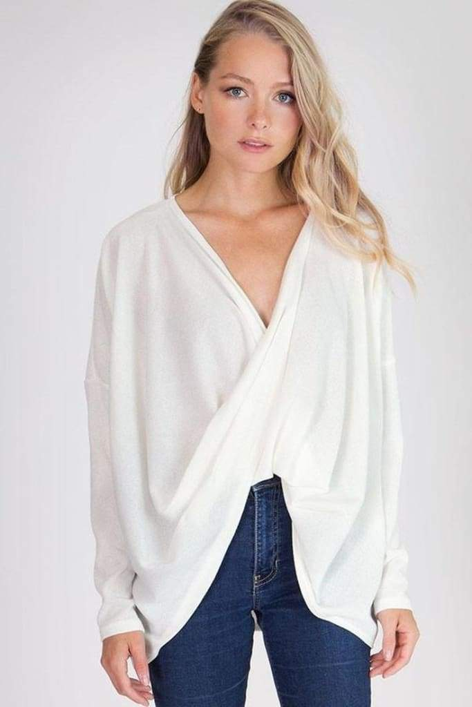 Infinite Possibilities Draped Front Knit - White - Tops - Affordable Boutique Fashion