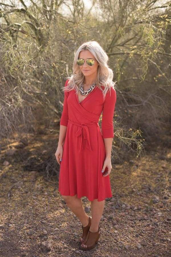 Jillian Wrap Dress - Red - Dresses - Affordable Boutique Fashion
