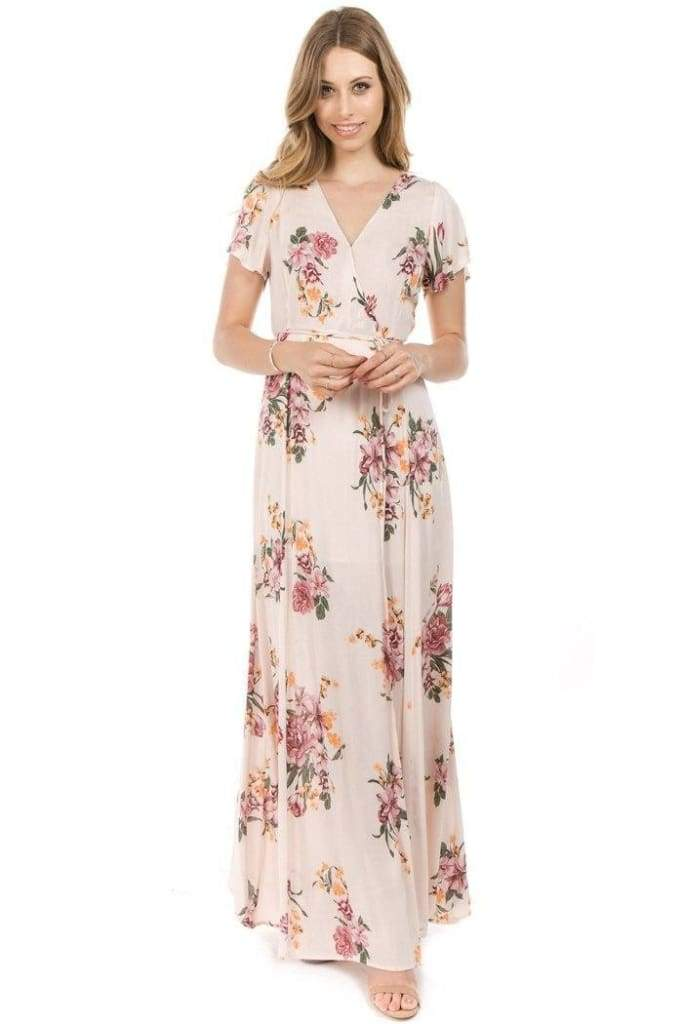 Joel Blush Floral Wrap Maxi - Dresses - Affordable Boutique Fashion