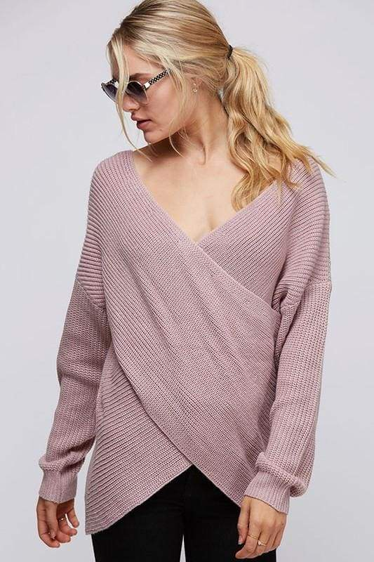 Kaden Drape Front Knit Sweater - Mauve - SWEATERS - Affordable Boutique Fashion