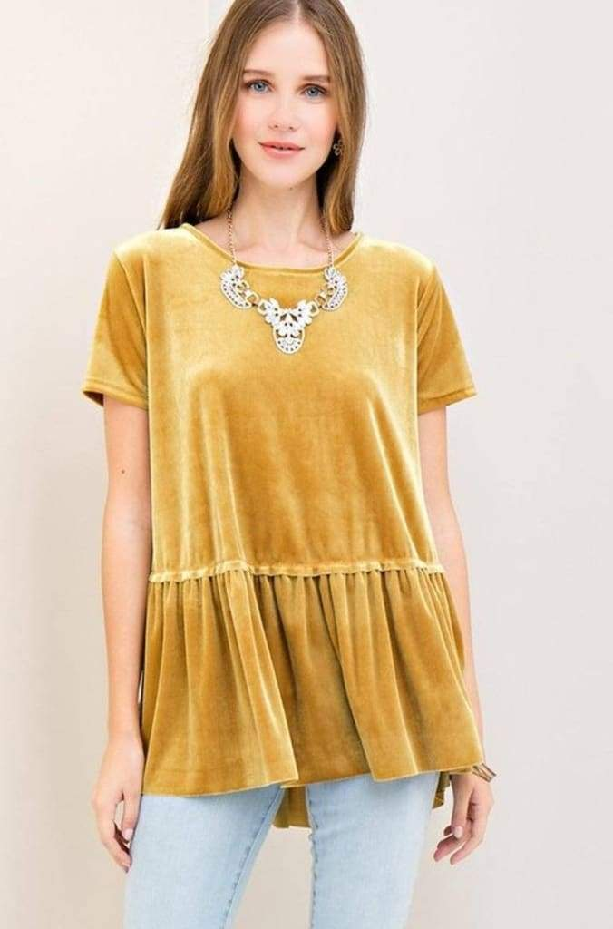 Knox Gold Standard Velvet Peplum Top - Tops - Affordable Boutique Fashion