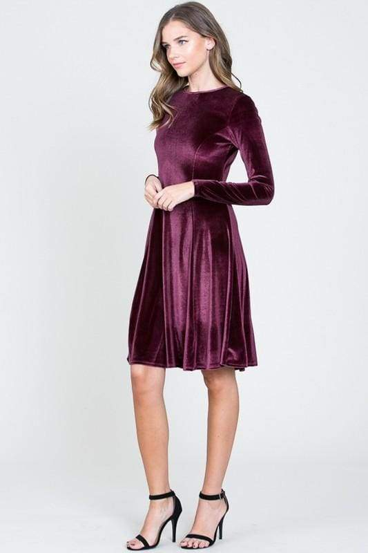Lap of Luxury Velvet Dress - Mulberry - DRESSES - Affordable Boutique Fashion