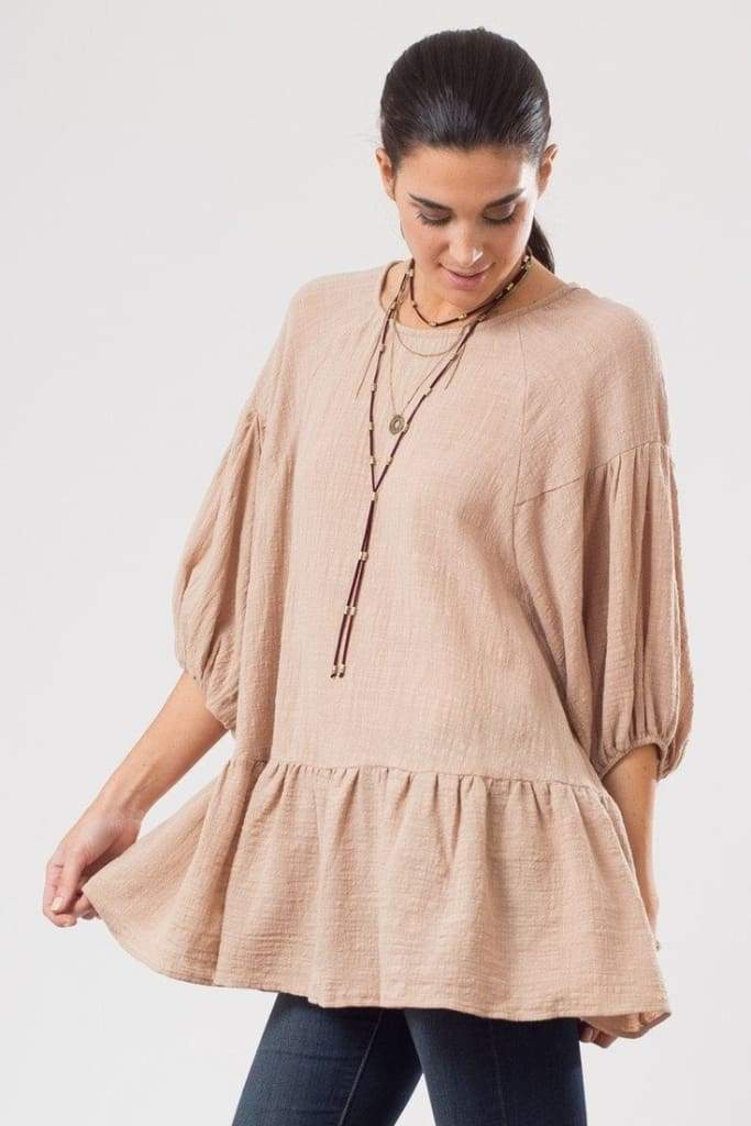 Linen Statement Sleeve Peplum - TOPS - Affordable Boutique Fashion