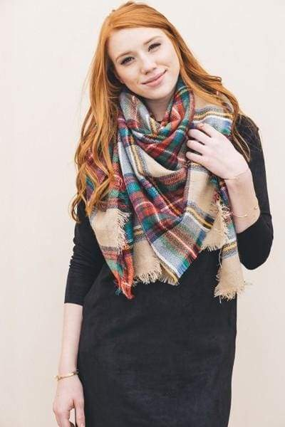 Lucky Duck Pretty in Plaid Blanket Scarf - Sand - Accessories - Affordable Boutique Fashion