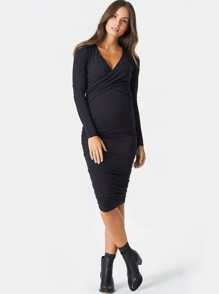 Lucky Mama Criss Cross Maternity/Nursing Dress - DRESSES - Affordable Boutique Fashion