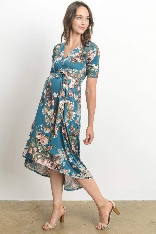 Maeve Faux-Wrap Midi Dress | Shown in Teal Blooms - DRESSES - Affordable Boutique Fashion
