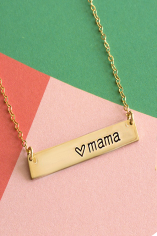 """Love Your Mama"" Hand Stamped Necklace"