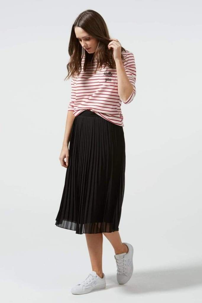 """Marcie"" Pleated Midi Skirt - Black - SALE - Affordable Boutique Fashion"