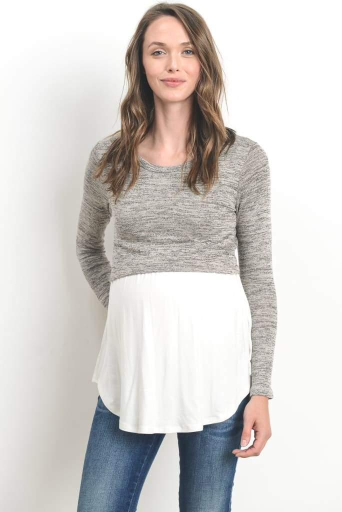 Momiform Knit Maternity & Nursing Top - DRESSES - Affordable Boutique Fashion