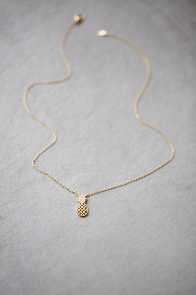 Golden Pineapple Dainty Charm Necklace