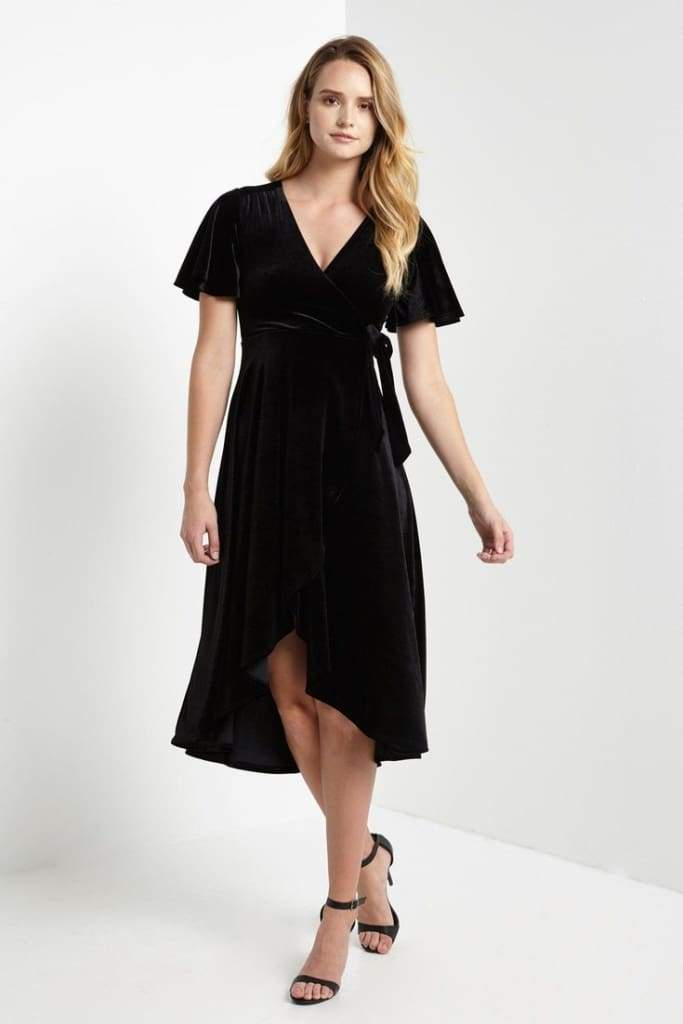 Night Sky Black Velvet Wrap Maxi Dress - Dresses - Affordable Boutique Fashion