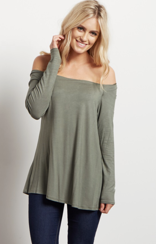 Joey Olive Off-Shoulder Knit