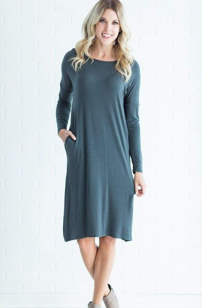 """One Lucky MOM"" Midi Nursing Dress - Charcoal - Tops - Affordable Boutique Fashion"