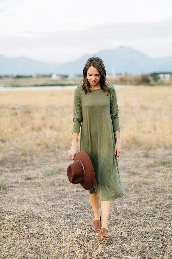Catherine Pocket Dress - Olive