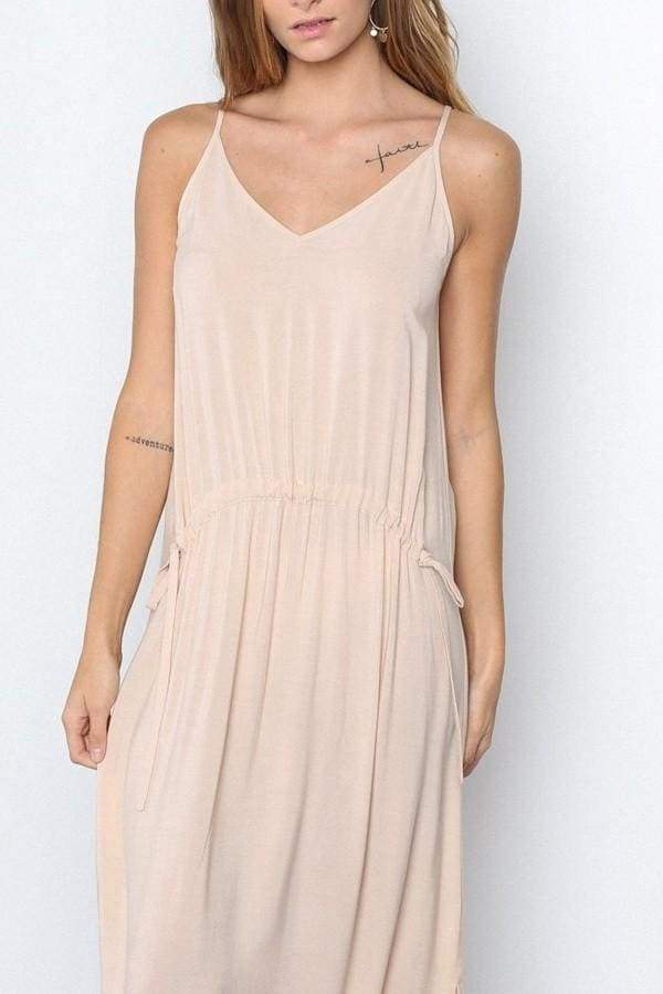 Peach Fuzz Drawstring Maxi Dress - DRESSES - Affordable Boutique Fashion