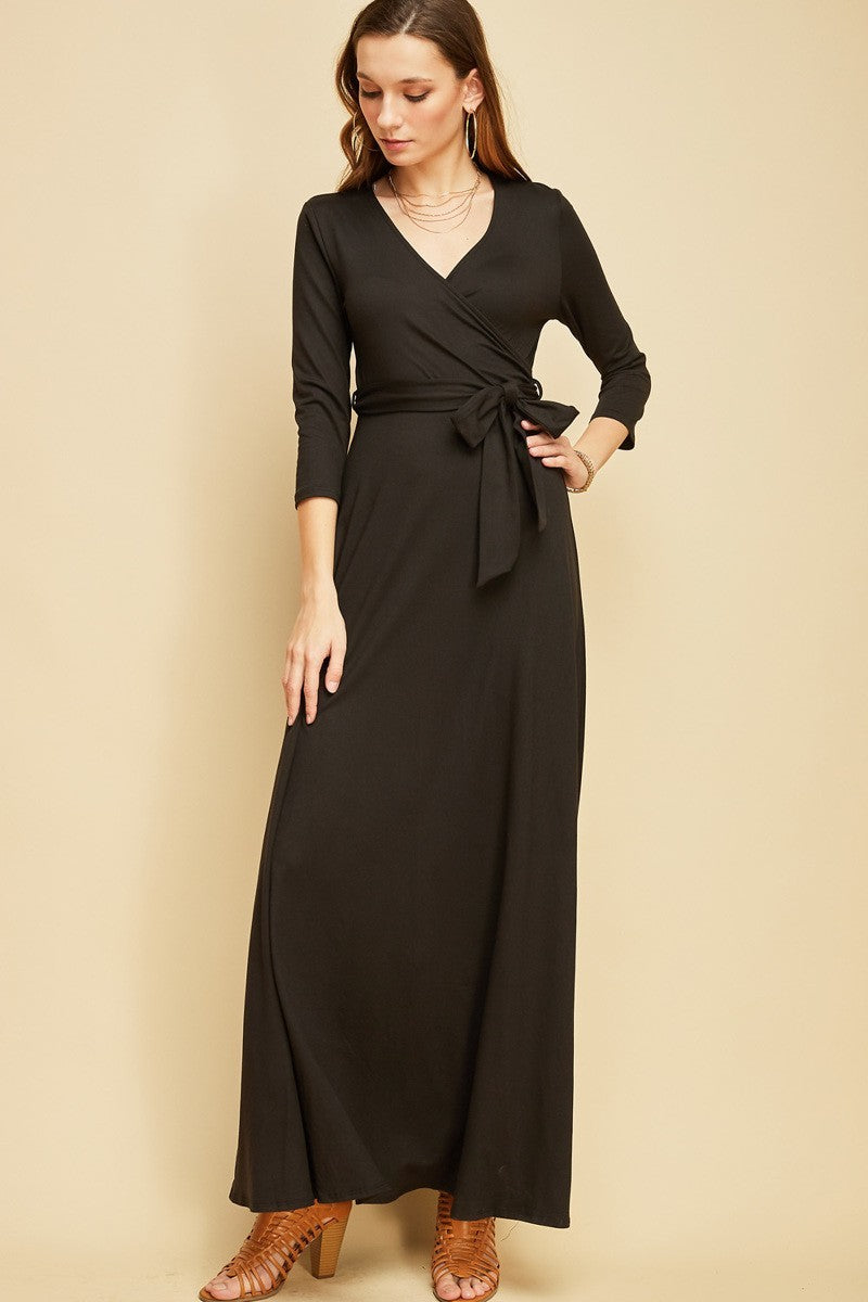the Softee Faux-Wrap Maxi Dress
