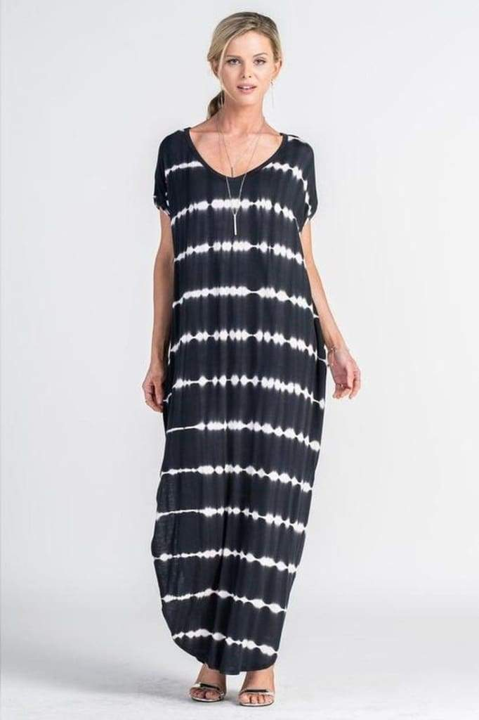The Abigail T-Shirt Maxi Dress | Black Tie-Dye - DRESSES - Affordable Boutique Fashion