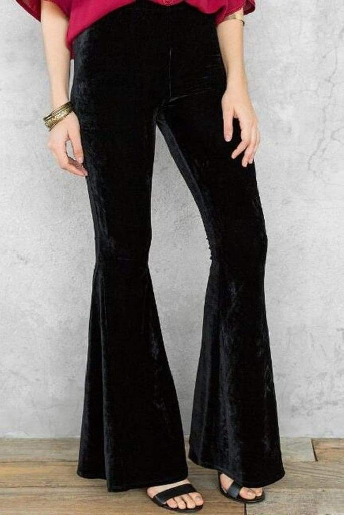 The Hippie Bell Bottoms - Black Velvet - BOTTOMS - Affordable Boutique Fashion