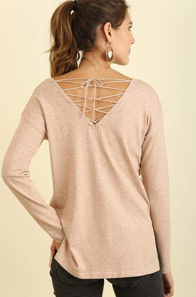 Willow Cross-Back Blush Knit Sweater - Tops - Affordable Boutique Fashion